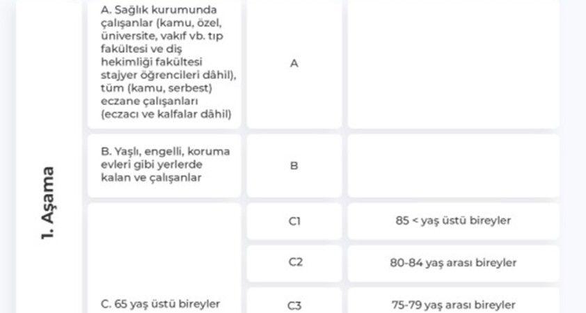 Covid-19 aşısı olacak grupların sıralaması belli oldu