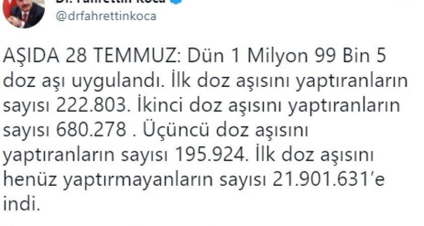 Sağlık Bakanı Fahrettin Koca aşılamaya ilişkin son verileri açıkladı