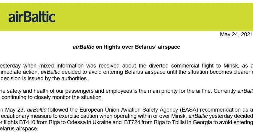 AirBaltic, Belarus hava sahası üzerinden gerçekleştirdiği uçuşlarını askıya aldı