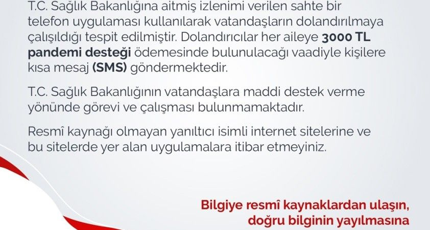 Sağlık Bakanlığı sahte telefon uygulamalarına karşı uyardı