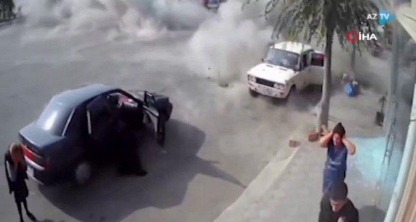 Berde'ye bombaların düşme anı görüntülendi