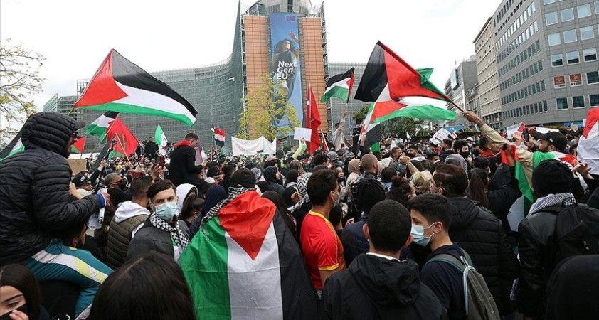 AB'nin kalbinde Filistinlilerle dayanışma gösterisi
