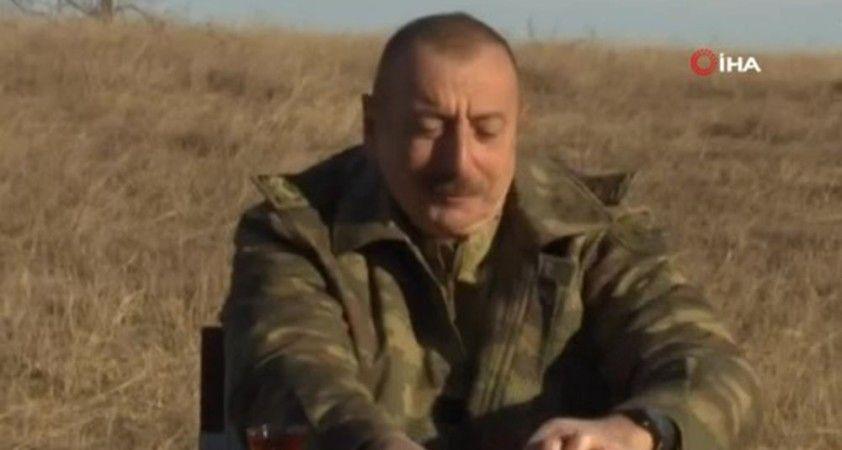 Azerbaycan Cumhurbaşkanı Aliyev'in Karabağ Savaşı sonrası Cıdır Ovası'nda zafer çayı