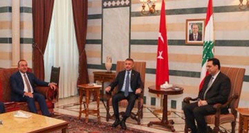 Cumhurbaşkanı Yardımcısı Oktay ve Bakan Çavuşoğlu, Lübnan Başbakanı Diyab ile görüştü