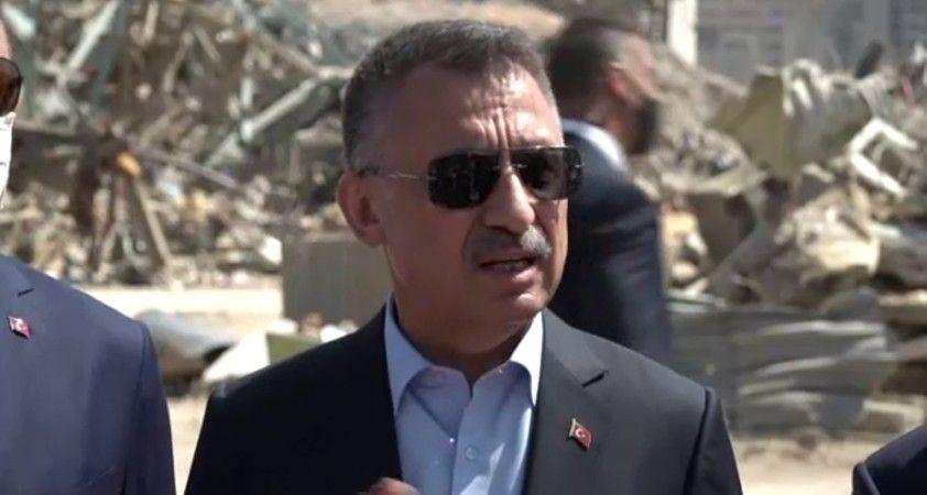 Cumhurbaşkanı Yardımcısı Oktay ve Bakan Çavuşoğlu patlama alanında